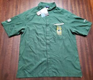 NWT Reebok Onfield Green Bay Packers Fill Snap Shirt Mens Small Green