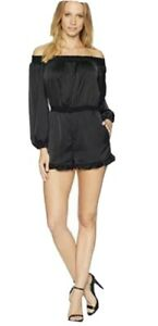 BEBE women's black Long Sleeve Off The Shoulder jumpsuit black - size M - as new