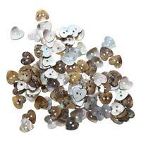 Lot de 100 Perles Bouton en Nacre Coquillage Coeur 15mm N9E2