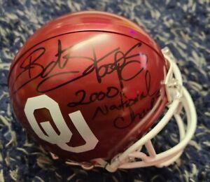 BOB STOOPS Signed 2000 National Champions Oklahoma Sooners Riddell Mini Helmet