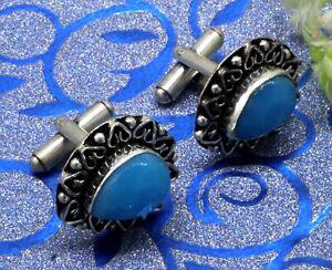 "Handmade 925 Sterling Silver Blue Chalcedony Gemstone Jewelry Cuff Links Size-1"""