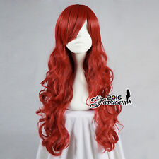 Curly Red 70CM Long Halloween Anime Cosplay Full Wig For The Little Mermaid Arie