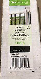 """(BOX OF 20) Trex Transcend BLACK Round Aluminum Baluster For 36"""" Rail BKTA30RBK"""