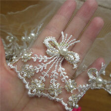 1 Yd Embroidered Bow Pearl Net Lace Edge Trim Wedding Ribbon Applique DIY Patch