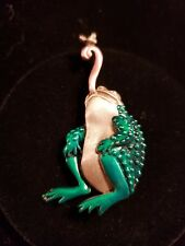 "Brushed Silvertone & Enamel Frog Catching Fly Pin Brooch By Jj, 2.25"" Long"