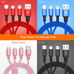 3 in 1 Fast USB Charging Cable Universal Multi Multiple Cell Phone Charger Cord