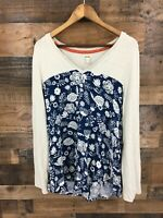 Hatley Women's Navy Floral Long Tab Sleeve Button Back Pullover Tunic Top Sz XL