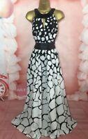 Julien Macdonald MAXI/FULL LENGTH evening/occasion DRESS Sz 20-22-24 black/white
