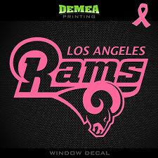 "Rams NFL -  Breast Cancer Awareness Pink Vinyl Sticker Decal 5"""