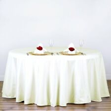 """5 IVORY 120"""" ROUND POLYESTER TABLECLOTHS Wedding Discounted Tabletop Supplies"""