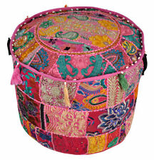 Large Pouf Ottoman Covers Multi Vintage Patchwork Foot Stool Kantha Stitch Cover