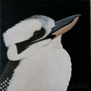 "Small Painting 8 X 8 Acrylic - Original Art - ""Kookaburra"""