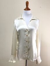 Escada Womens Top 38 100% Silk Beige Long Sleeve Button Down Collar Loose Fit