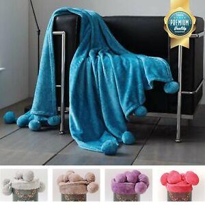 POM POM Throw Blanket Fleece Luxury Travel Soft Warm Cosy Sofa Bed Chair Double