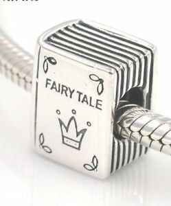 New Silver Fairy Tale Book Plated Charm Fit European Brand bracelet+Gift Pouch