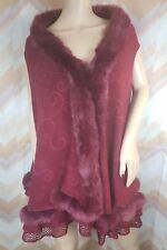 PRETTY ANGEL Sz ONE Size Burbundy Crochet Open Front Faux fur Flare Cape Vest