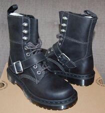 Dr Doc Martens Women's Hilda Biker Black Strap Leather 8-Eye Boots, 3UK/5US