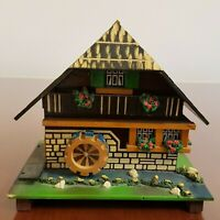 Vintage Mechanical Swiss Chalet Grist Mill Water Wheel Music Box Dr Schiwago