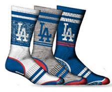 Los Angeles Dodgers Socks 3 Pack Crew Length MLB Baseball Fits Men Shoe Sz 7-11