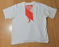 Men's THE NORTH FACE White Red T-Shirt Top Short Sleeve Cotton Size XL