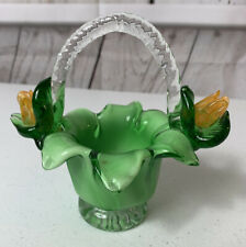 Vintage Small Glass Basket Green Floral Collectible Trinket Box