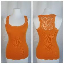 Abercrombie & Fitch XS Orange Lace Trim Embroidered Mesh Race Back Tank Top Cami