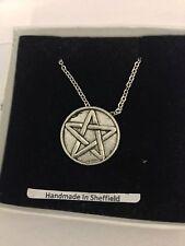 """Pentacle / Pentagram PP-G34 Emblem Silver Platinum Plated Necklace 18"""""""