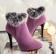 Winter Fashion High Heeled Boots Korean Faux Fur Stiletto High Heels Pointed Toe