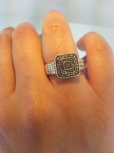 925 Sterling Silver Black CZ Square Engagement Ring Micro Pave Set