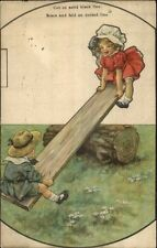 Cut-Out Mechanical Novelty- Kids on See-Saw - Rally Day c1920 Postcard