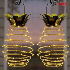 2Pcs Hanging Solar Lanterns Pineapple Garden Fairy Lights Outdoor Home Decor