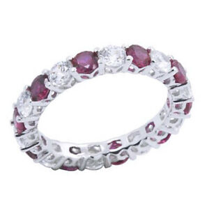 Simulated Ruby Eternity Wedding Band Ring Platinum Over