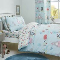 Kids Duvet Covers Blue Woodland Animals Cute Reversible Print Quilt Bedding Sets