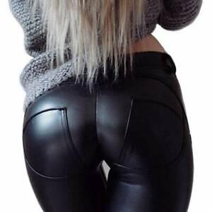 LEATHER LOOK LEGGINGS TROUSERS BUTT LIFT STRETCH PANTS NEW WOMEN BLACK SKINNY PU