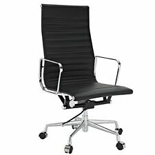 Ea119 Ea117 Aluminium Office Chair Low High Back Ribbed Genuine Italian Leather
