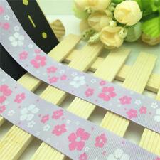 NEW DIY 5 Yards 1'' 25mm Purple Floral Printed Grosgrain Ribbon Hair Bow Sewing