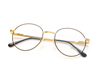 Vintage Hilton 632 C3 Black Gold Round Eyeglasses Optical Frame Lunettes Glasses