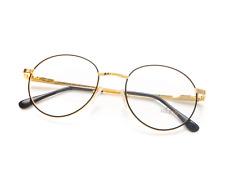 Vintage Hilton 632 C3 Black Gold Round Eyeglasses Optical Frame Lunettes Glasses