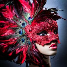 Red Venice Carnival Feather Peacock Masquerade Venetian Mardi Gras Party Mask