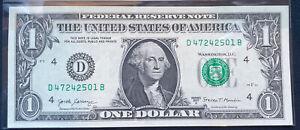 """WOW $1 2017-A 1  D/B  BLOCK (fw) ( CLEVELAND  """"D"""") UNCIRCULATED FRN"""