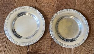 1936-Wm A Rogers Silverplate Meadowbrook Plates 3.75 in Diameter- set of 2