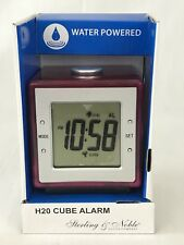 H2O Water Powered Cube Alarm Clock Sterling & Noble Pink New