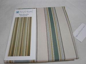 New Saturday Knight Ltd. STELLA STRIPE BLUE Fabric Shower Curtain ~  Tan Taupe