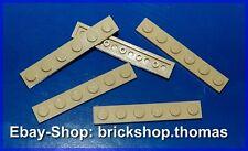 Lego 5 x Platte (1 x 6) - 3666 beige - Tan Plate - NEU / NEW