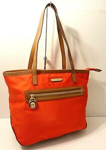 Michael Kors Kempton Candy Red Tote Shopper Shoulder Purse Bag Lock Puller Charm