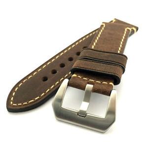 Dark Brown Leather Watch Strap Panerai Style (Steel, 22mm, 24mm)