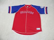 VINTAGE Philadelphia Phillies Baseball Jersey Adult 2XL XXL Red Blue MLB Mens *
