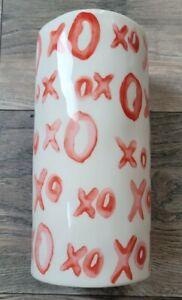 "XOXO Ceramic Glazed Romantic Love White Red Flower Vase 10"""