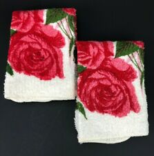 Vintage FMC Washcloth Matched Set Decorator Red Pink White Green Rose Bold Retro