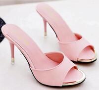 Women Casual Stilettos High Heel Open Toe Pointy Toe Slipper Shoes Stylish Mules